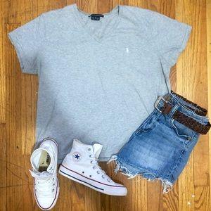 Grey Ralph Lauren Oversized V Neck T Shirt-XL